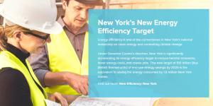 Man in hard hat talking to woman about New York energy efficiency rebates